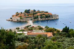 Island of Sveti Stefan in Montenegro Stock Images