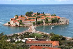 Island of Sveti Stefan. On the Adriatic sea in the summer. Montenegro Stock Images