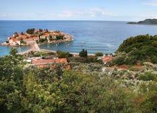 Island of Sveti Stefan. Sveti Stephan in the Adriatic sea in the summer. Montenegro Stock Photo