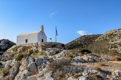 The island of Syros. The catholic chapel of Agia Pakou in the village of Galissas on the island of Syros Stock Photos