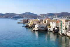 The island of Syros. Holidays on the island of Syros. The beach in the Vaporia district Royalty Free Stock Photography