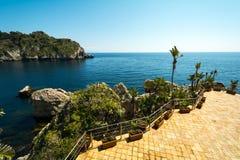 Island at Taormina, Sicily, Italy. Isola Bela in Taormina in Sicily, Italy stock photo