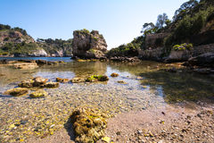 Island at Taormina, Sicily, Italy. Isola Bela in Taormina in Sicily, Italy royalty free stock photography
