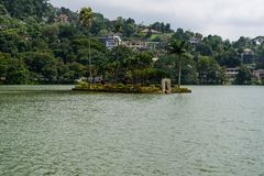 Island temple on the lake of Kandy. Royalty Free Stock Photography
