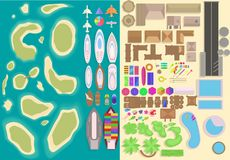 Island top view elements set. Cartoon vacation elements. Landscape top view. Vector illustration stock illustration