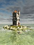 Island Tower. Mediaeval or fantasy tower on a small rocky island in the ocean, 3d digitally rendered illustration Stock Image