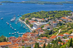 Island town of Hvar aerial view Stock Photos
