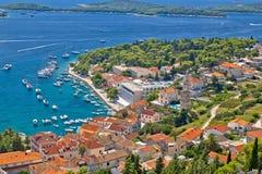 Island town of Hvar aerial view Stock Photos