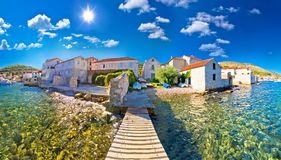 Island town of Vis idyllic waterfront view. Archipelago of Dalmatia, Croatia royalty free stock images