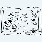Island treasure map. On blue background. Vector silhouettes Stock Photos