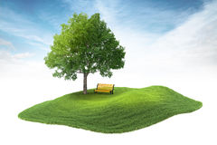 Island with tree and bench floating in the air on sky background. 3d rendered illustration of an island with tree and bench floating in the air on sky background Royalty Free Stock Images