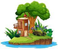 Island with tree house. Illustration royalty free illustration