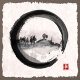 Island with trees in black enso zen circle Royalty Free Stock Images