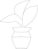 Plant in a pot. Black and white roślina, kwiatek w doniczce Stock Photography