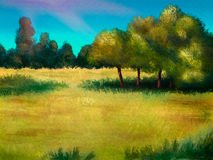 Island Of Trees - Digital Painting. Painting of an island of trees in a yellow field of grass Stock Images