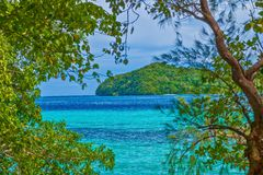 Island trip to turquoise waters at Palau. During daytime stock photo