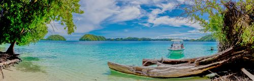 Island trip to turquoise waters at Palau. Islands in Pacific region stock images