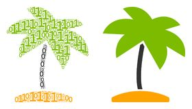 Island Tropic Palm Composition of Binary Digits stock illustration