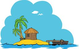 Island tropical home. A small home on a  isolated tropical island surrounded with water and blue sky Royalty Free Stock Image