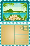 Island with tropical palms and flowers Royalty Free Stock Photography