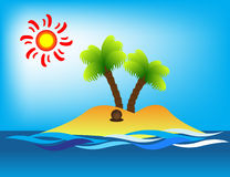 Island. Tropical Island, sun and coconut tree Stock Photography