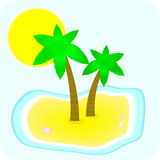 Island with two palm. Tropical island with palm and sea shells Stock Images