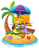 An island with two pirate monsters Royalty Free Stock Photos