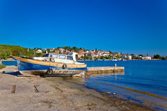 Island of Ugljan old boat by the sea Royalty Free Stock Image