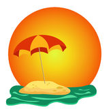 Island with umbrella Royalty Free Stock Photo