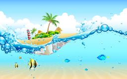 Island from Underwater. Illustration of view of island from underwater Royalty Free Stock Photos