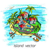 Island3. Unusual perspective of the paradise island on sea, drawn sketch,background of pastel chalks, vector illustration Vector Illustration