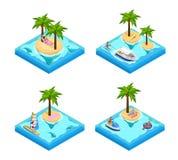 Island Vacation Isometric Set Royalty Free Stock Images