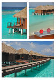 Island Vacation on Overwater Bungalow on Collage P Royalty Free Stock Photo