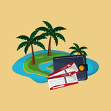 Island with vacation travel icons image. Flat design island with vacation travel icons image vector illustration Royalty Free Stock Images