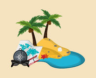 Island with vacation travel icons image. Flat design island with vacation travel icons image vector illustration Royalty Free Stock Photos