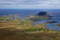 Island of Vaeroy in Norway. Picturesque norwegian fishing port of Sorland on Lofoten islands Stock Photo