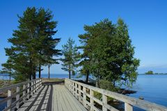 The island of Valaam, the wooden bridge Stock Image