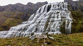 Island vattenfall Dynjandi, utmärkt! westfords fotografering för bildbyråer