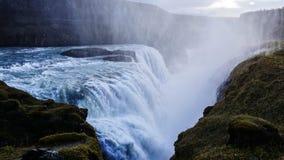 Island vattenfall Gullfoss fotografering för bildbyråer
