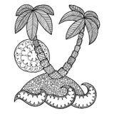 Island vector. Isle zen tangle, islet zen doodle, coloring book sea, zentangle ocean, zendoodle palm trees, zenart sun. Holidays c Royalty Free Stock Photo