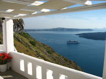 Island view. Great view from a balcony on santorini island, greece royalty free stock photo