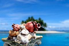 Island view with Ancient Amphora Stock Photos