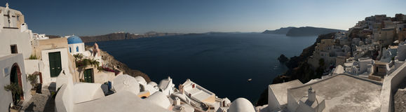 Island views of Santorini. A panoramic island view from above in  Santorini, Greece Stock Photo