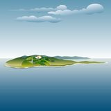 Island villa. Vector drawing of the villa on island Stock Photography