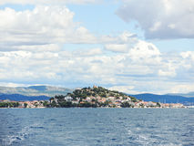 Island with village in Adriatic Sea Royalty Free Stock Photography