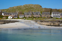 Island village on Iona Scotland uk Inner Hebrides off the Isle of Mull west coast of Scotland houses and cottages Stock Photos