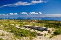 Island of Vir church ruins. Island of Vir church on the hill ruins, with Adriatic sea landscape view stock photos