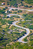 Island of Vis curvy road vertical view Stock Image