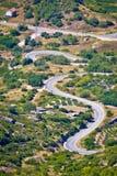 Island of Vis curvy road vertical view. Dalmatia, Croatia stock image