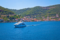 Island of Vis yachting destination view stock images